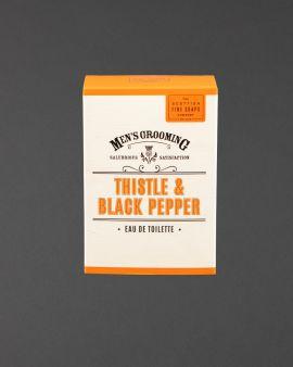 The box that the Thistle and Black Pepper Eau de Toilette.