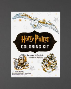 The front cover of the colouring kit, which says 'Includes 30 cards and 10 coloured pencils.'
