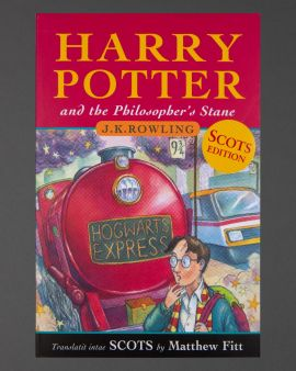 The front cover of the book 'Harry Potter and the Philosopher's Stane.'