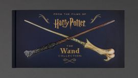 The front of the book which shows Harry Potter and Voldemort's wands and says 'Harry Potter: The Wand Collection.'