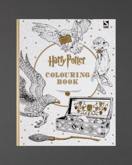 The cover of the Harry Potter Colouring Book. It is white with gold stars and black-and-white images of Hedwig, Dobbie, a Hippogriff, broom and Quidditch set.