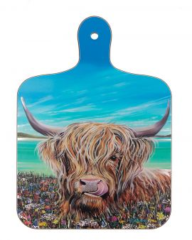 A pot stand with an image of a Highland Cow on the front.