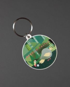 A round key ring with an image of a Dodo in a forest. Above it says 'Brodick Castle' in red.