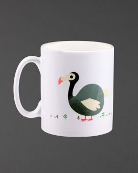 The ceramic mug with a curved handle. On the front is an image of a Dodo.