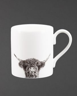 A white, fine china mug with a black image of a Highland cow.