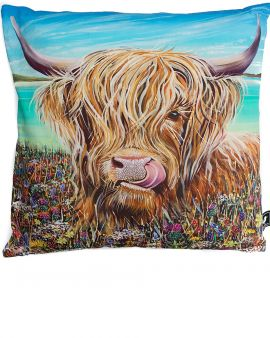 A bright cushion with a digital image of a Highland Cow.