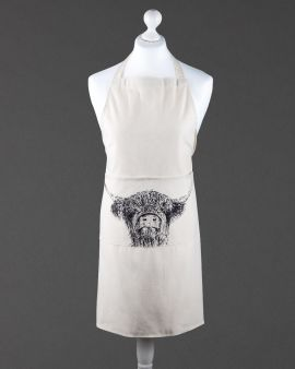 An apron on a dressmaker's model. There is a Highland Cow design over the middle pocket.