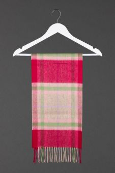 A Flowers and Gardens Tartan Cashmere Scarf with a fringe at the bottom.