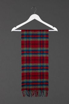A Bannockburn Tartan Cashmere Scarf featuring a fringe at the bottom.