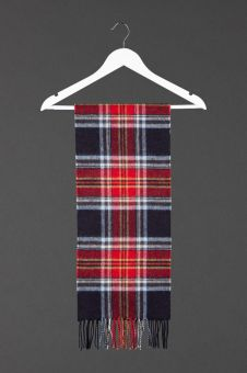 The Royal Mile Tartan Cashmere Scarf with a fringe at the bottom.