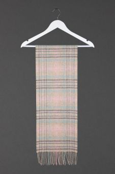 A Famous Scots Tartan Cashmere Scarf with a fringe at the bottom.