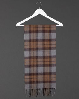 The Outlander Tartan Lambswool Scarf with a fringe at the bottom.
