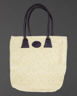 The front of the gooseberry recycled bag with a white design on top. The top of bag has two straps.