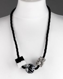 Necklace With 3 Black & White Shapes