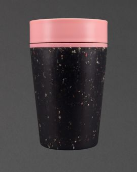 An rCUP with a pink lid and black, contrasting base from recycled material.