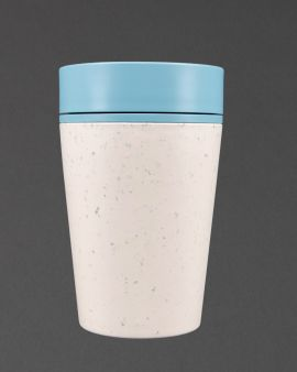 An rCUP with a blue lid and white, contrasting base from recycled material.