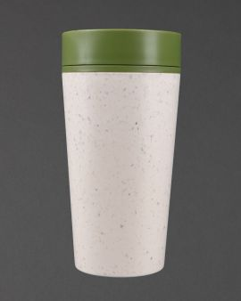 An rCUP with a green lid and cream, contrasting base from recycled material.