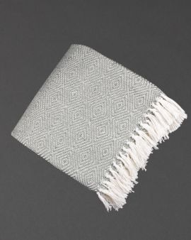 The folded grey diamond blanket with knotted fringing at the bottom.