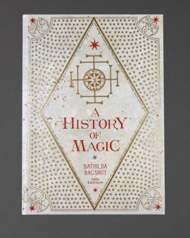 The front cover of the hardback journal: 'A History of Magic' by Bathilda Bagshot 2nd Edition'.