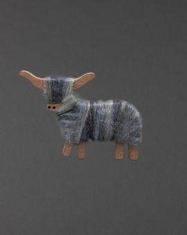 Hairy Coo Handmade Ornament with Grey Wool