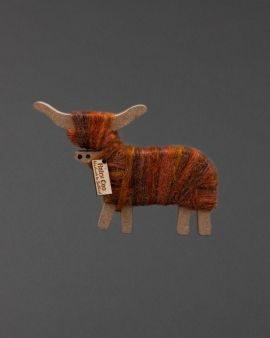 Hairy Coo Handmade Ornament with Brown Wool