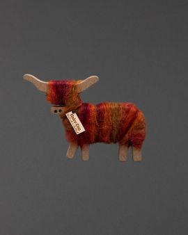 Hairy Coo Handmade Ornament with Orange Wool