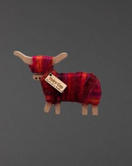 Hairy Coo Handmade Ornament with Red & Pink Wool