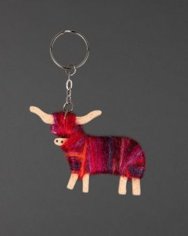 Hairy Coo Handmade Keyring with Red & Pink Wool