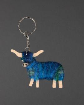 Hairy Coo Handmade Keyring with Blue Wool