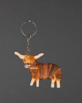 Hairy Coo Handmade Keyring with Brown Wool