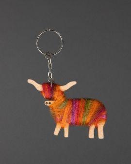 Hairy Coo Handmade Keyring with Orange Wool