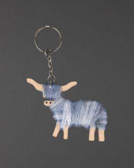 Hairy Coo Handmade Keyring with Grey Wool