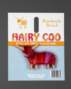 Hairy Coo Handmade Brooch with Red & Pink Wool