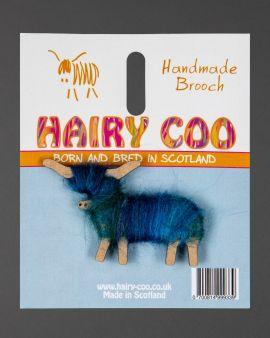 Hairy Coo Handmade Brooch with Blue Wool