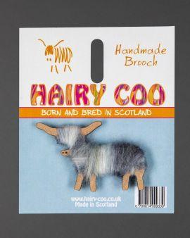 Hairy Coo Handmade Brooch with Grey Wool