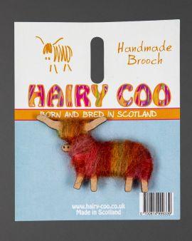 Hairy Coo Handmade Brooch with Orange Wool
