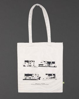 The shopper bag with a long strap, it features four different images and angles of the Hill House. Underneath there is text: 'The Hill House Charles Rennie Mackintosh.'