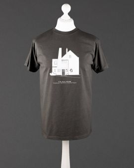 The tshirt on a dressmaker's model, the t-shirt features the West Elevation of The Hill House and the text 'The Hill House Charles Rennie Mackintosh' underneath.