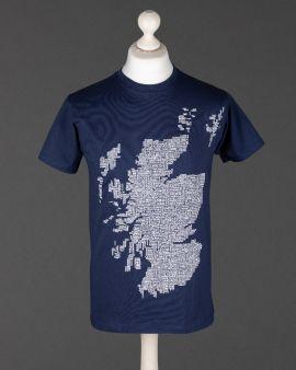 Map of Scotland Navy T Shirt Small