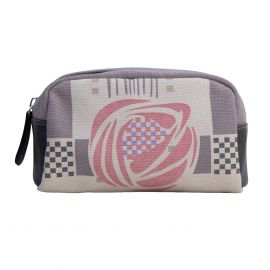 The wash bag with purple, check detail and featuring a Mackintosh rose. It has a black leather zip.