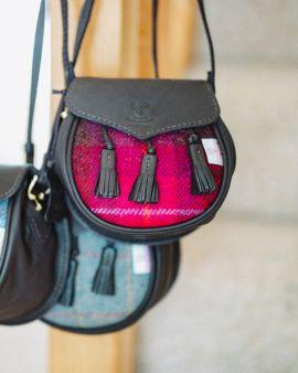 Bright Pink Harris Tweed & Deerskin Leather Sporran Cross Body Bag