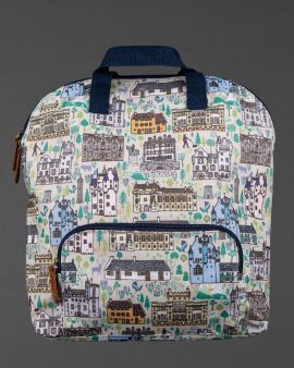 front of buildings of the national trust for scotland backpack
