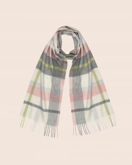 Cashmere Scarf in Muted Gardens Check by Johnstons of Elgin