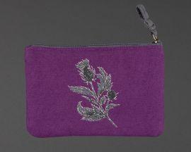 Front of purple thistle zip purse