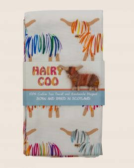 Hairy Coo Highland Cow Tea Towel with Magnet