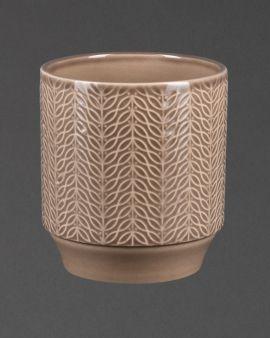 brown stoneware planter