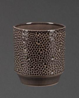 dark grey stoneware planter