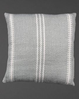 grey recycled cushion with stripes vertically