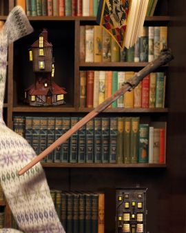 Harry Potter's wand floats in front of a bookshelf. There are other floating items including a scarf, book and two light-up models.